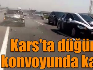 Kars'ta düğün konvoyunda kaza